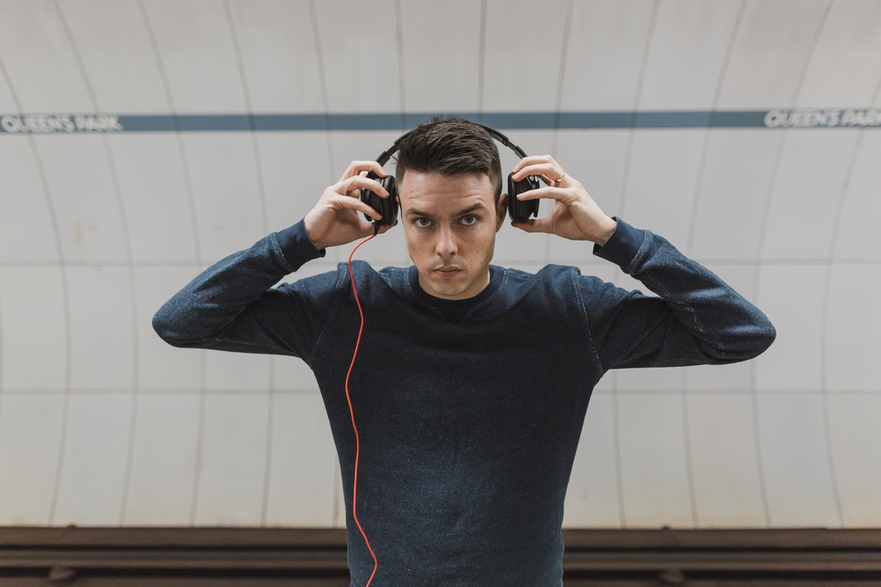 man with headphones on trend