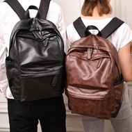 Korean leather couple backpack unisex